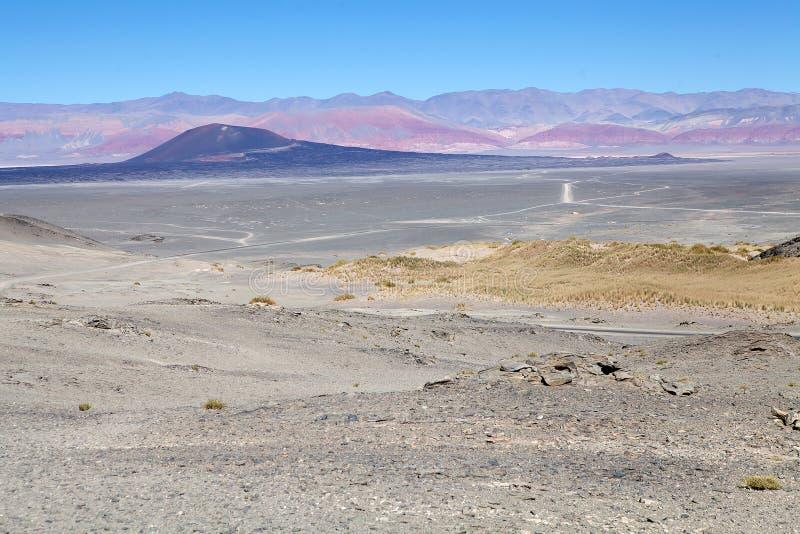 Het landschap van de Puna de Atacama met de vulkaan Carachi Pampa op de achtergrond, Argentinië royalty-vrije stock foto's