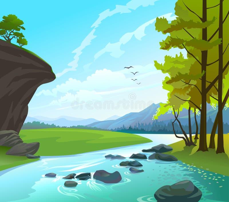 Het Landschap van de rivier, van heuvels en van rotsen stock illustratie