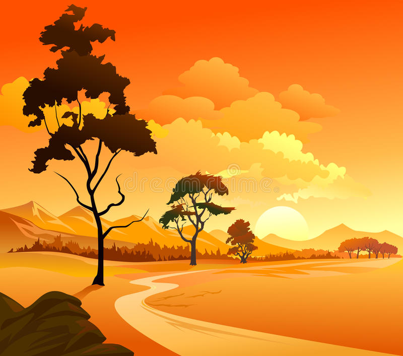 Het Landschap van de rivier, van heuvels en van rotsen royalty-vrije illustratie