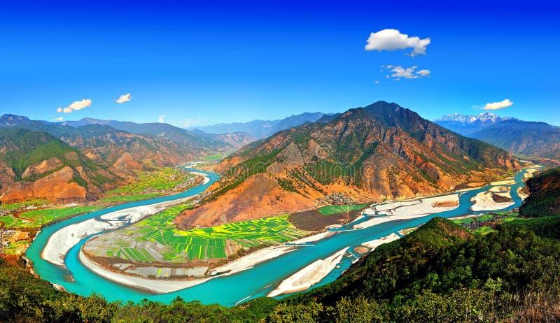 Het landschap van de Rivier van Yangtze stock afbeelding