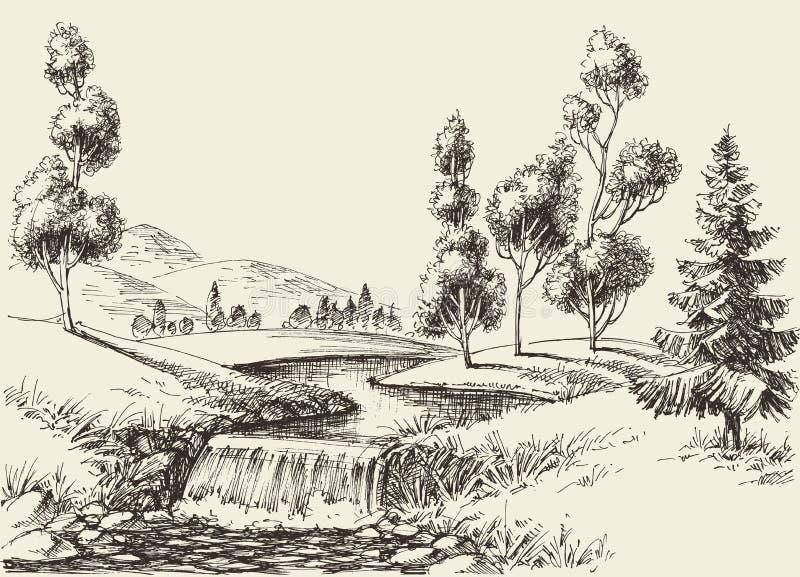 Het landschap van de rivierstroom stock illustratie