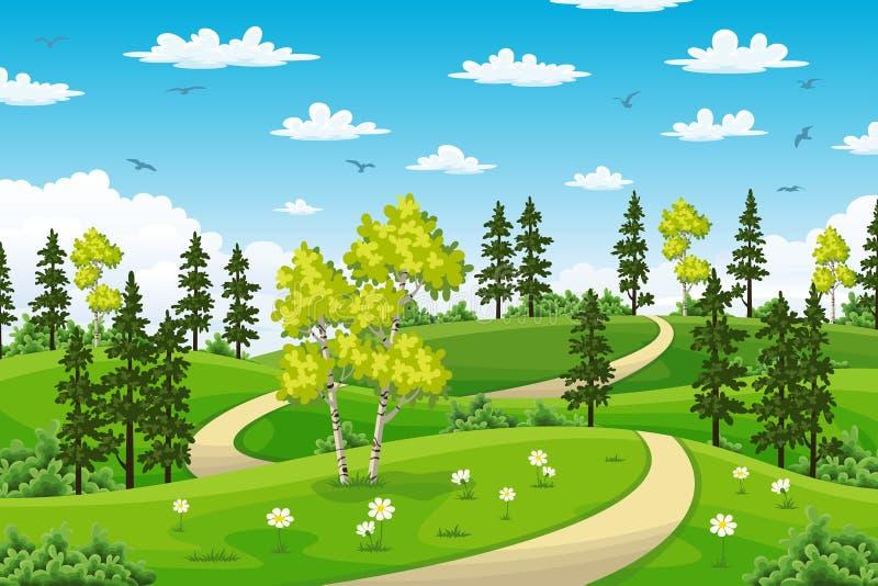 Het landschap van de Rualzomer met bomen royalty-vrije illustratie