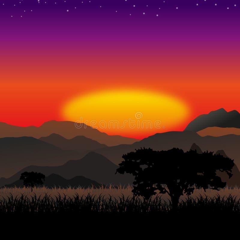 Het landschap van de savanne stock illustratie