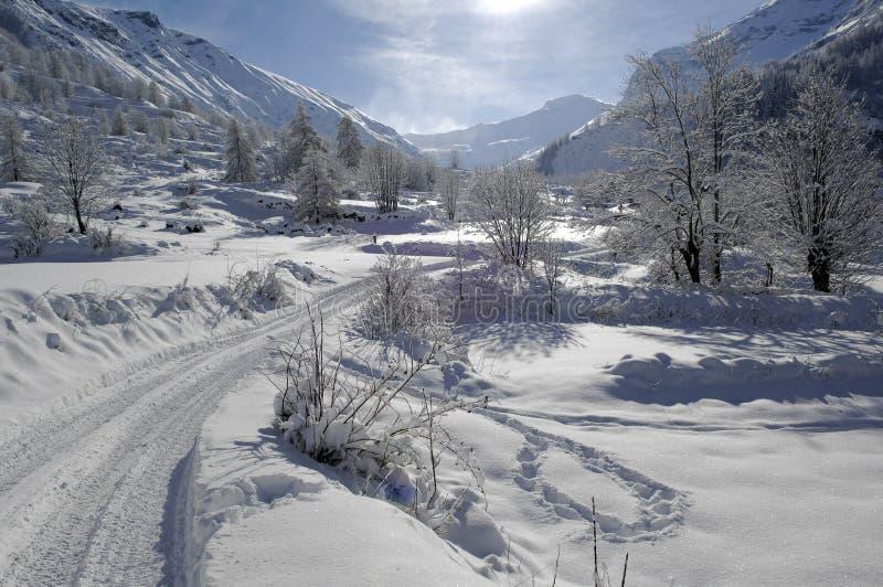 Het landschap van de sneeuw royalty-vrije stock afbeeldingen