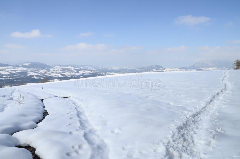 Het landschap van de sneeuw dichtbij Cruseilles, Savooiekool, Frankrijk royalty-vrije stock fotografie