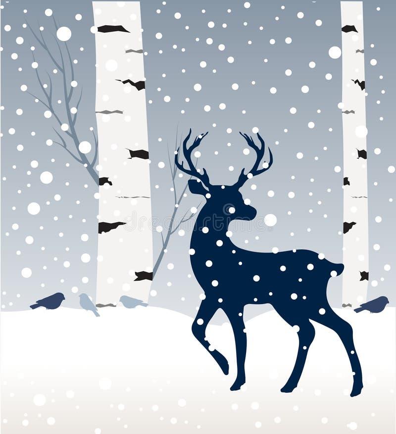 Het landschap van de sneeuwwinter met herten, vogels en berkboom royalty-vrije illustratie