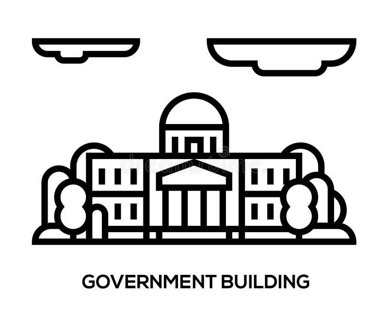 Het landschap van de stad de gemeentelijke bouw, Zaal, de Overheid, het hof op de achtergrond stock illustratie