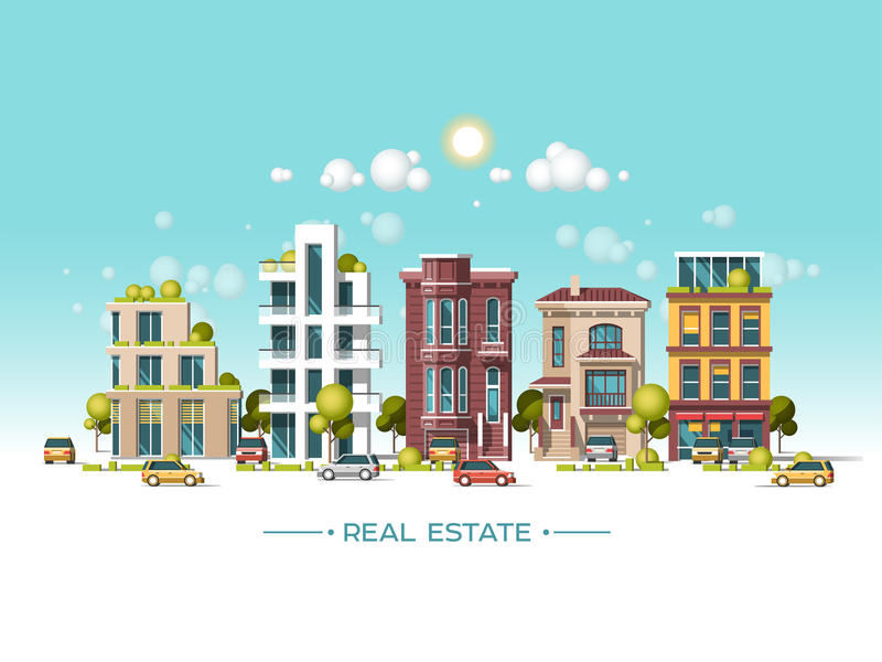 Het landschap van de stad Onroerende goederen en bouwvakconcept Vlakke vectorillustratie 3d stijl vector illustratie