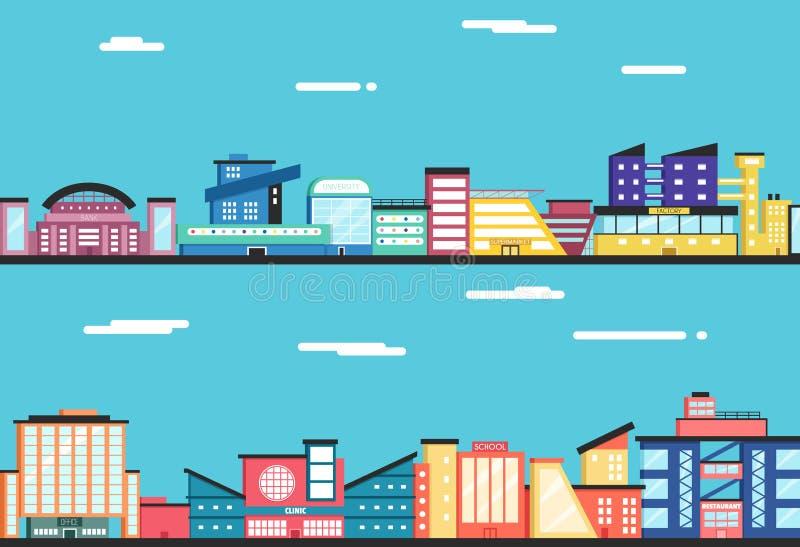 Het landschap van de stad Wolken in de hemel Vlakke vectorillustratie stock illustratie