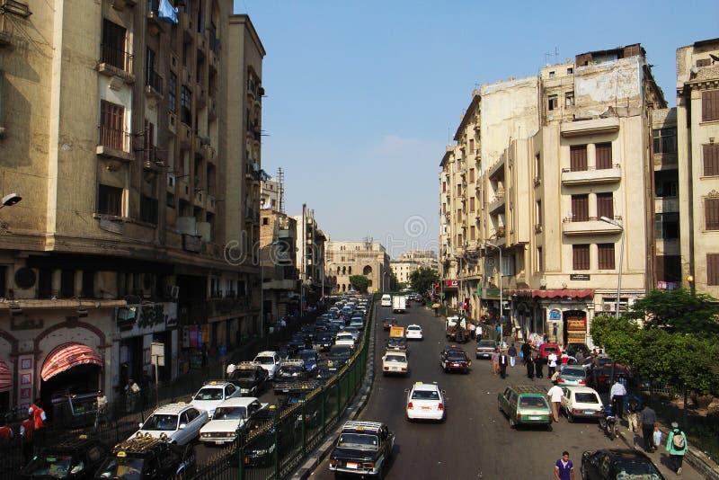 Het landschap van de straat in Kaïro, Egypte royalty-vrije stock afbeelding