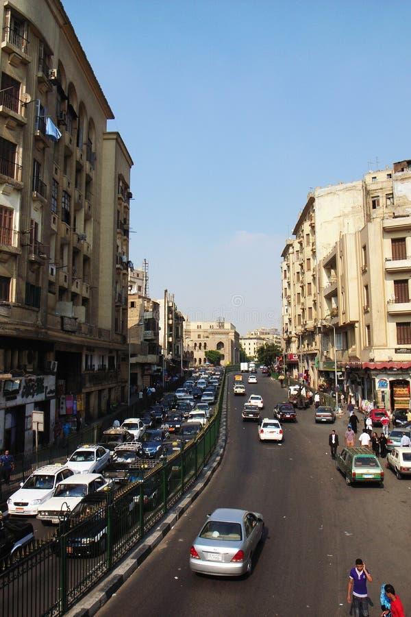 Het landschap van de straat in Kaïro, Egypte stock afbeelding
