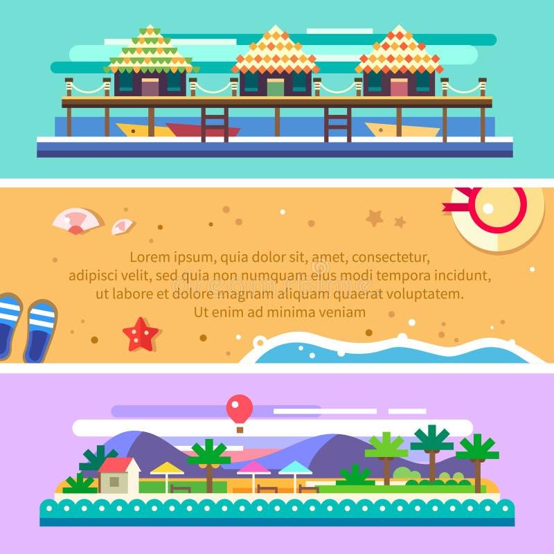 Het landschap van de strandzomer Oceaan, boten, zon, palmen vector illustratie