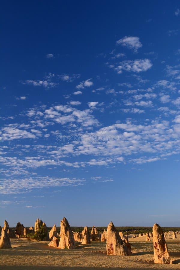 Het landschap van de toppenwoestijn bij zonsopgang Nambung Nationaal Park cervantes Westelijk Australië australië royalty-vrije stock foto