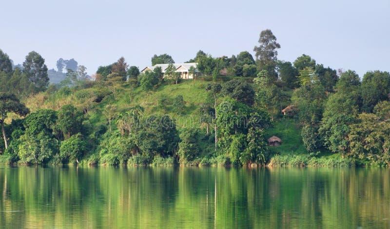 Het landschap van de waterkant dichtbij Bergen Rwenzori royalty-vrije stock foto