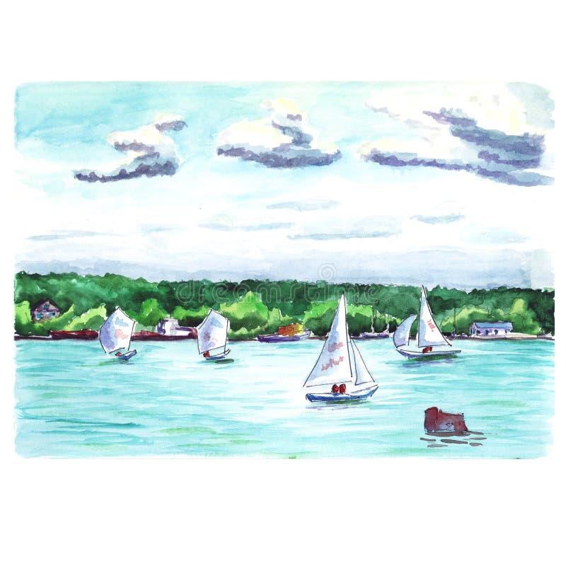 Het landschap van de waterkleur met jachten stock afbeelding