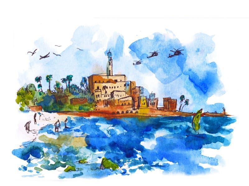 Het landschap van de watermening - Middellandse Zee, Waterverf Oude stad en haven van Jaffa en de stad van Tel Aviv, Israël royalty-vrije illustratie