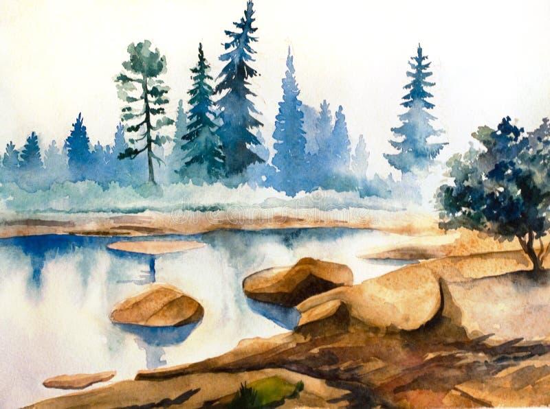 Het landschap van de waterverf vector illustratie