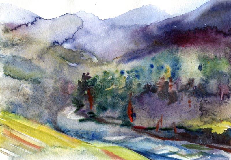Het landschap van de waterverf De zomerbos onder bergen dichtbij meer vector illustratie