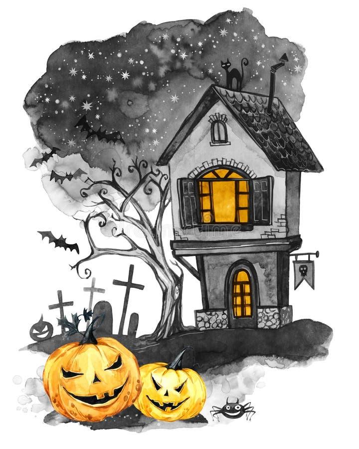 Het landschap van de waterverf Oude huis, begraafplaats en vakantiepompoenen Halloween-vakantieillustratie Magisch, symbool van v stock illustratie