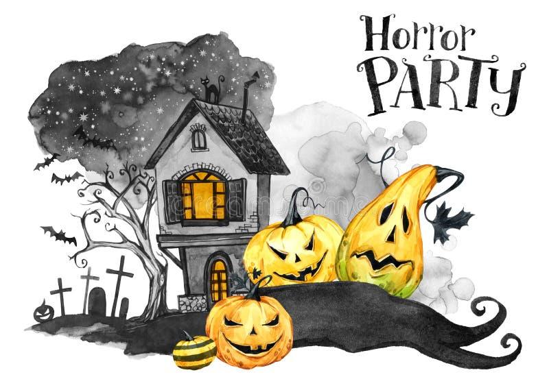 Het landschap van de waterverf Oude huis, begraafplaats en vakantiepompoenen Halloween-vakantieillustratie Magisch, symbool van v royalty-vrije illustratie