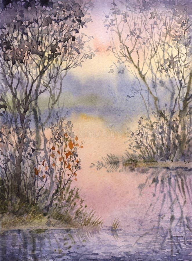 Het landschap van de waterverf Struikgewas op de eilandjes van een stil meer vector illustratie