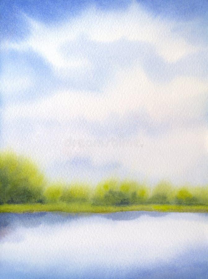 Het landschap van de waterverf Witte wolken op blauwe hemel over meer stock illustratie