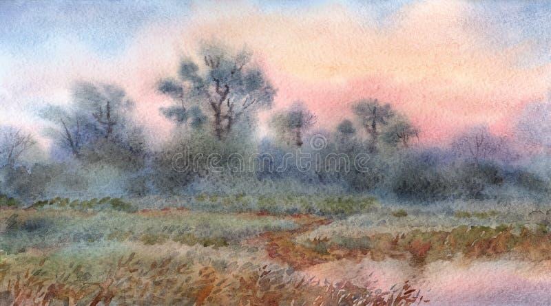 Het landschap van de waterverf Zonsopgang over het hout en de weiden rond royalty-vrije illustratie