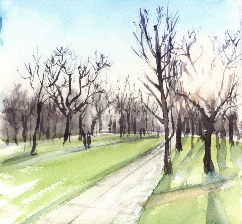 Het landschap van de waterverfillustratie met zon en bomen in het park stock illustratie