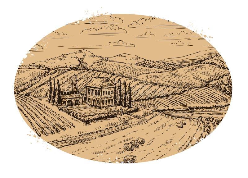 Het landschap van de wijngaard Retro etiket Hand getrokken vector uitstekend landbouwbedrijf, landbouw stock illustratie