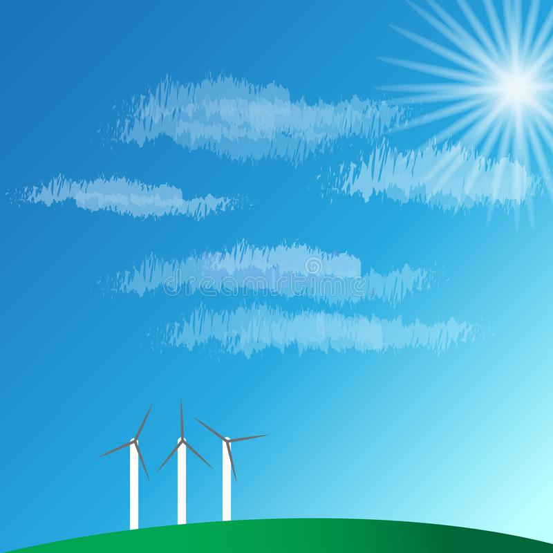 het landschap van de windturbine en blauwe hemel op berg vectorillustraties vector illustratie