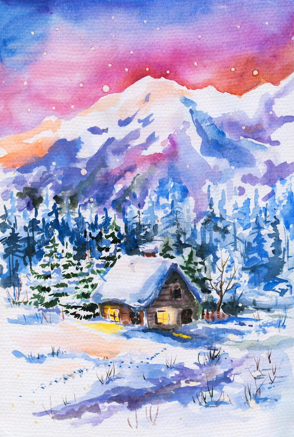 Het landschap van de winter stock illustratie