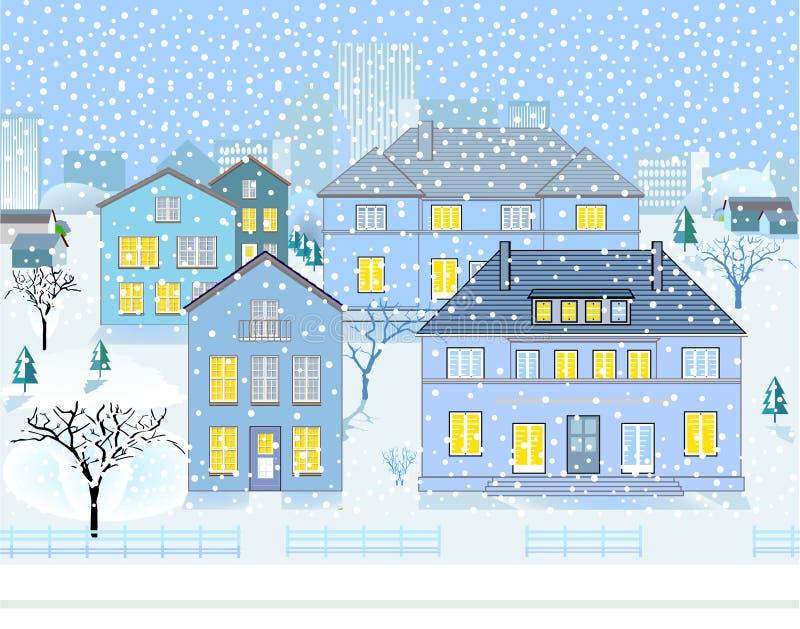 Het Landschap van de winter in Buurt stock illustratie