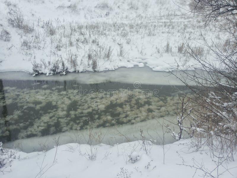 Het landschap van de winter Een kleine rivier onder een de wintersneeuwstorm Prentbriefkaar met een rivier in de winter Lage temp stock foto