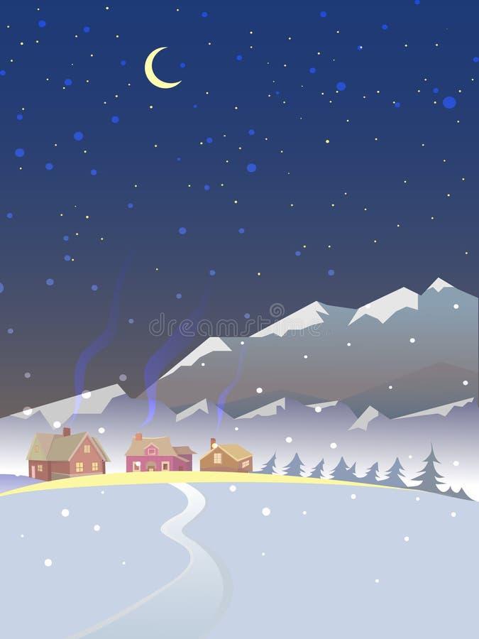 Het landschap van de winter Het landschap van de avond stock illustratie