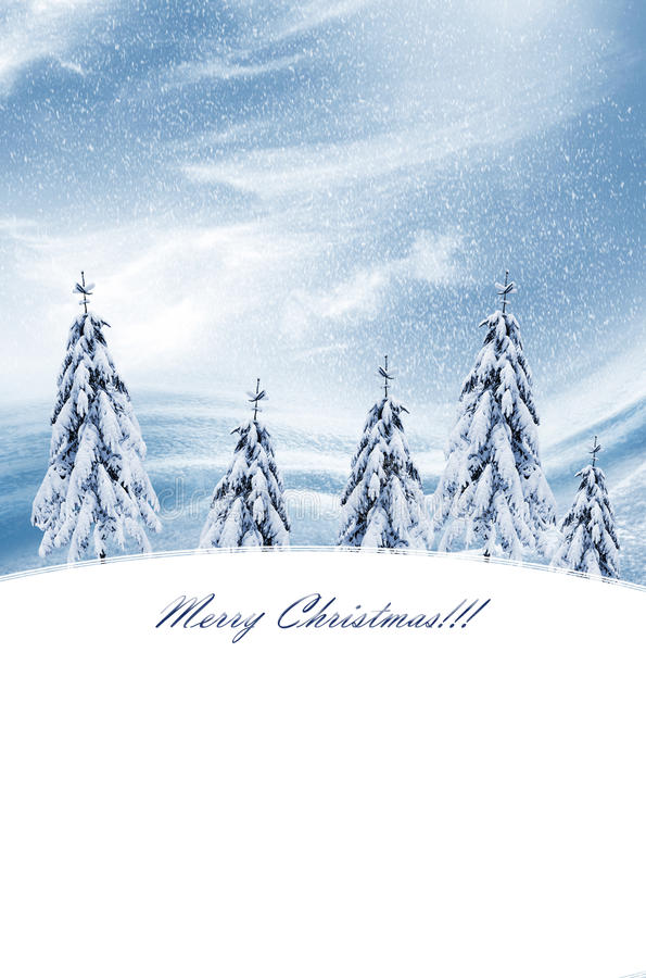 Het landschap van de winter Kerstman Klaus, hemel, vorst, zak royalty-vrije stock foto's
