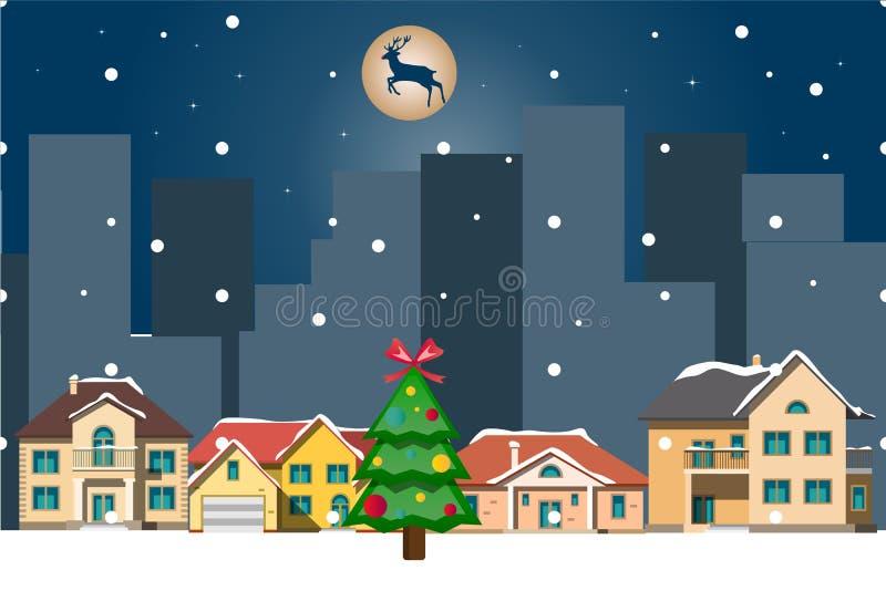 Het landschap van de winter Kerstmisachtergrond met huizen vector illustratie