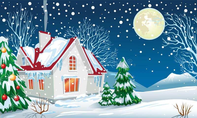 Het landschap van de winter met een huis royalty-vrije illustratie