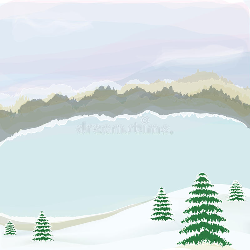 Het landschap van de winter met meer, bewolkt hemel en bos royalty-vrije illustratie