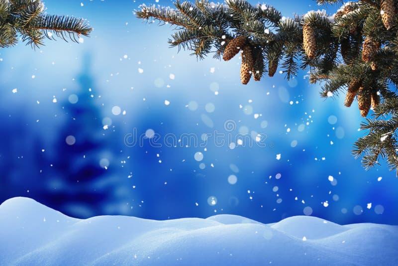 Het landschap van de winter met sneeuw De achtergrond van Kerstmis met spar vector illustratie