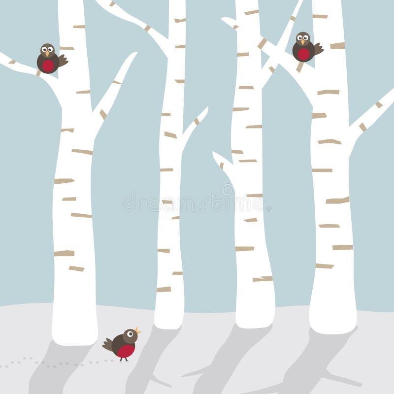 Het landschap van de winter met vogels stock illustratie