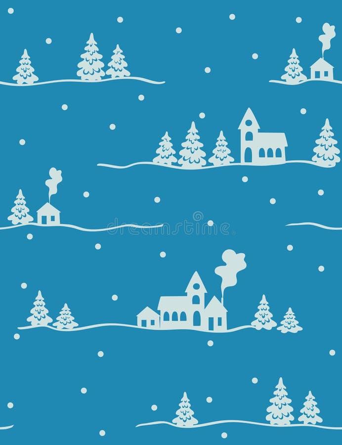 Het landschap van de winter - naadloos patroon vector illustratie