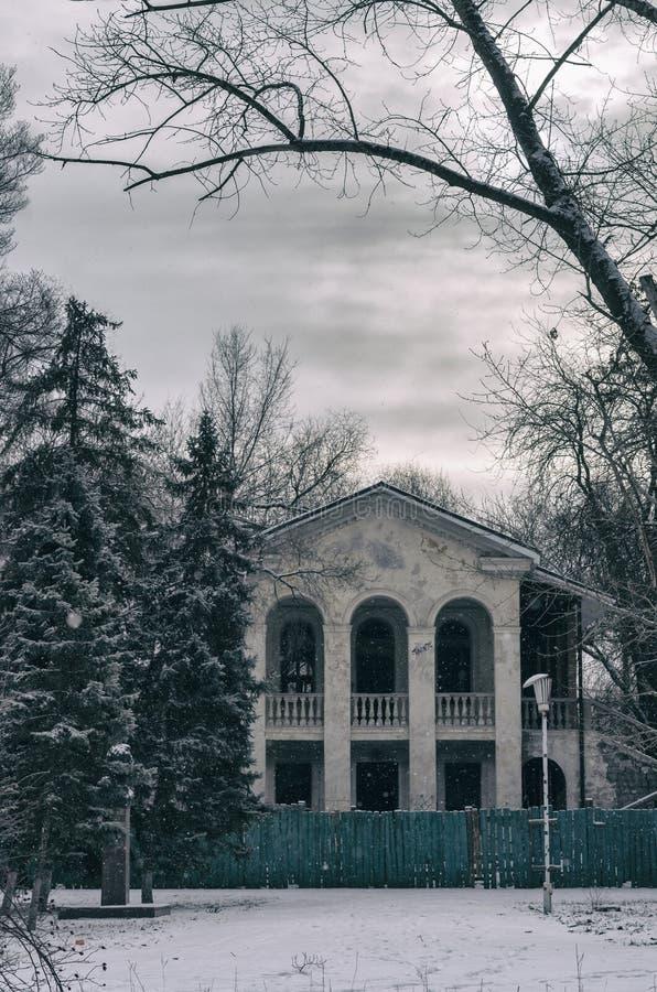 Het landschap van de winter Oud in het buitenland verblijvend huis van de laatste eeuw stock afbeeldingen