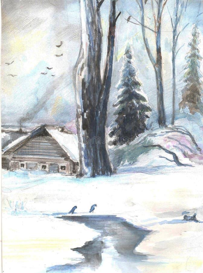 Het landschap van de winter Oud Huis in het Hout watercolor stock illustratie