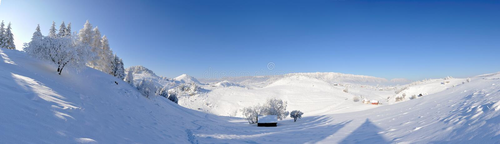 Het landschap van de winter - panorama stock fotografie