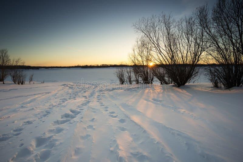 Het landschap van de winter Voetafdrukken in de sneeuw royalty-vrije stock foto's