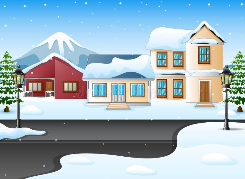 Het landschap van de winterbergen met huis en sneeuwstraat vector illustratie
