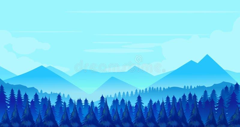 Het landschap van de winterbergen met pijnbomen en heuvels royalty-vrije illustratie