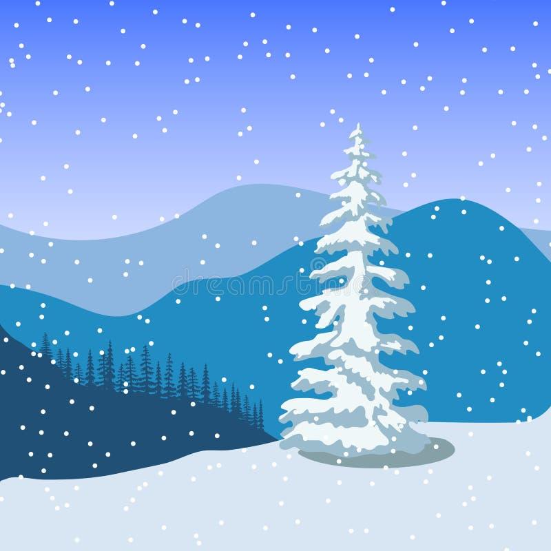 Het landschap van de winterkerstmis met silhouetten van bergen, sneeuwval en bos bij zonsopgang vector illustratie