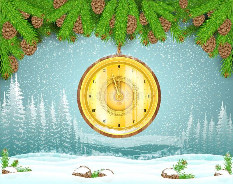 Het landschap van de de wintervorst met ronde gouden die klok van sparrentak wordt gehangen De achtergrond van Kerstmis stock illustratie