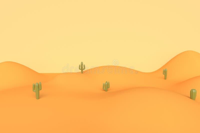 Het landschap van de woestijn met cactus het 3d teruggeven vector illustratie